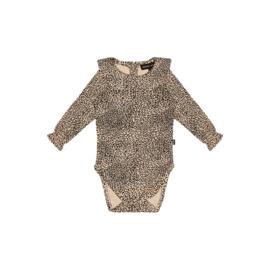 Rib Collar Bodysuit - Charcoal Little Leopard - HOJ