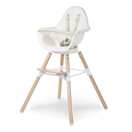 Childhome - EVOLU ONE.80° STOEL NATUREL / WIT 2 in 1 + BEUGEL