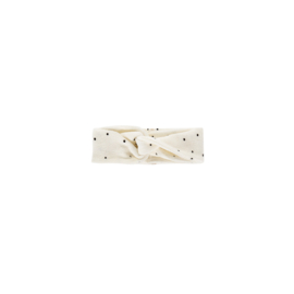 TURBAN HEADBAND Cream Black Dots ( Verschillende maatjes ) - House Of Jamie