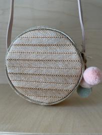 Roze/Gouden handtas met pomponnetjes - Mimi and Lula