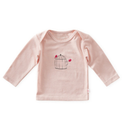 baby shirt lange mouw - light pink bird - Little Label