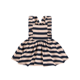 RUFFLED SALOPETTE DRESS Biscuit & Blue Stripes - HOJ