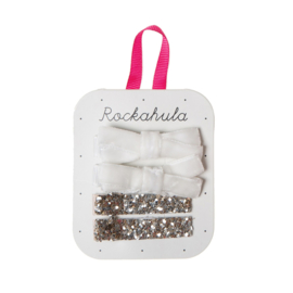 VELVET AND GLITTER CLIPS WHITE - Rockahula