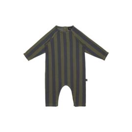 Raglan Jumpsuit - Moss & Blue Stripes - HOJ