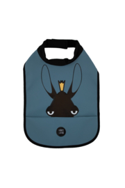 High Neck Bib - Moose Wavy Blue