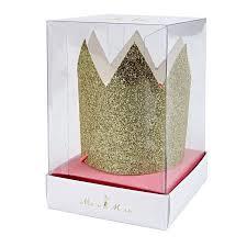 Mini gold glittered crowns ( 8 Stuks )- MeriMeri