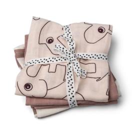 DoneByDeer - Burp cloth 3-pack - GOTS - Deer friends Powder