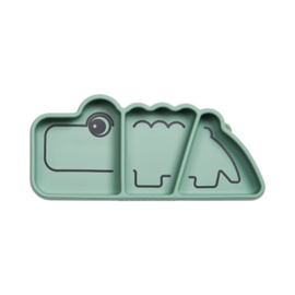 Silicone Stick & Stay snack plate, Croco, green - Donebydeer