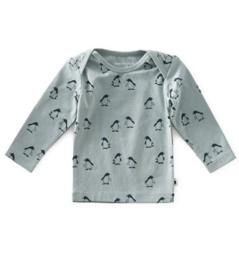 baby shirt lange mouw - penguin green - Little Label