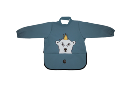 Long Sleeve Bib - Polar Bear Wavy Blue - Babylivia