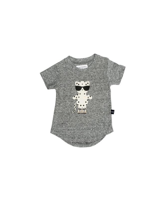 Leopard T-shirt Charcoal Slub - Huxbaby