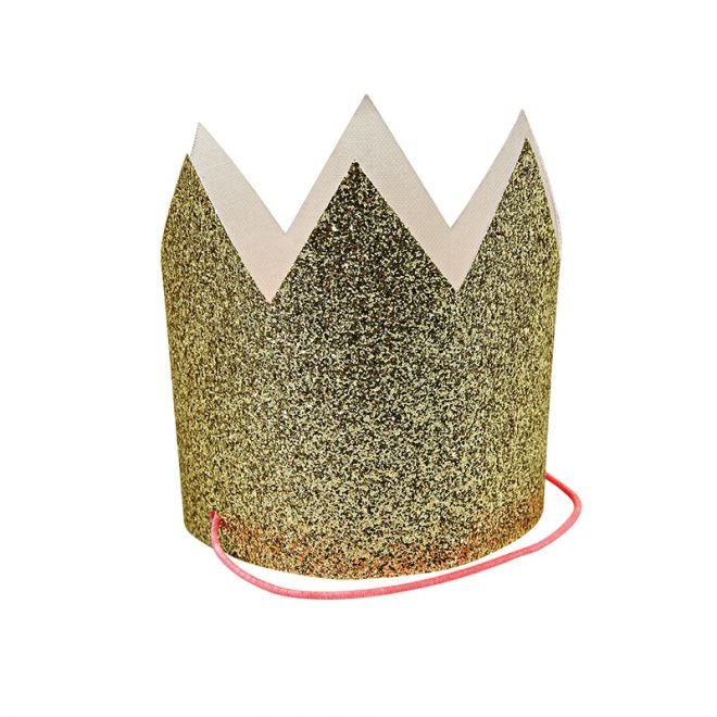 Mini Gold Glitter Crown  ( 1 Stuk )- Meri Meri