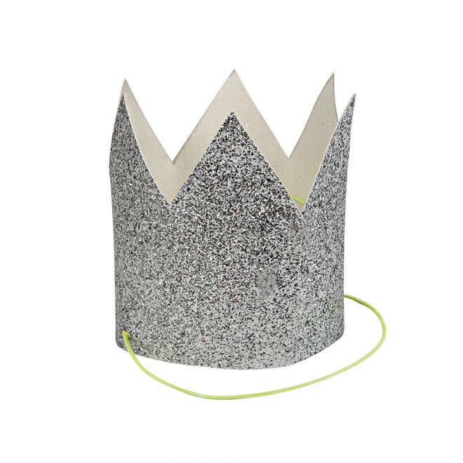 Mini silver glittered crowns ( 8 Stuks )  - MeriMeri