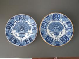 Pauwenstaart bord, Tichelaar Makkum 1930 - 1940