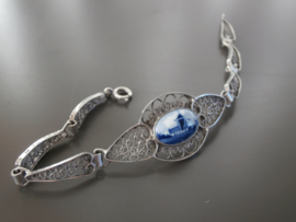 Elegante  armband met ovale Delftse steen