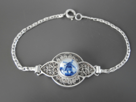Fijne filigrain armband , met ronde Delftse steen