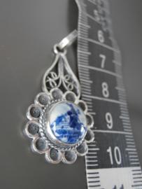 Zilveren hanger met Delftse steen van 10 mm