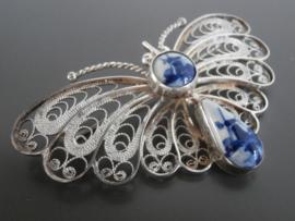 Grote zilveren vlinderbroche