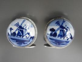 Manchetknopen Delftsblauw met zilver