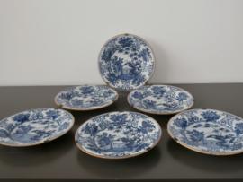298; Set van zes borden 'De Porceleyne Bijl' 1657-1813