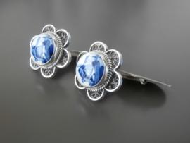 Zilveren manchetknopen met Delftsblauw.