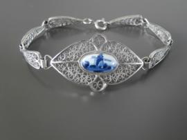 Filigrain armband met ovale Delftse steen