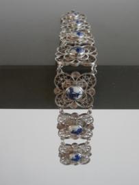Filigrain zilveren schakelarmband met Delftse steentjes
