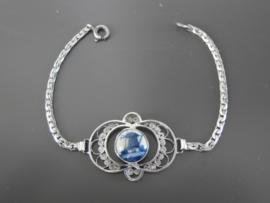 Elegante zilveren filigrain armband met Delftse steen