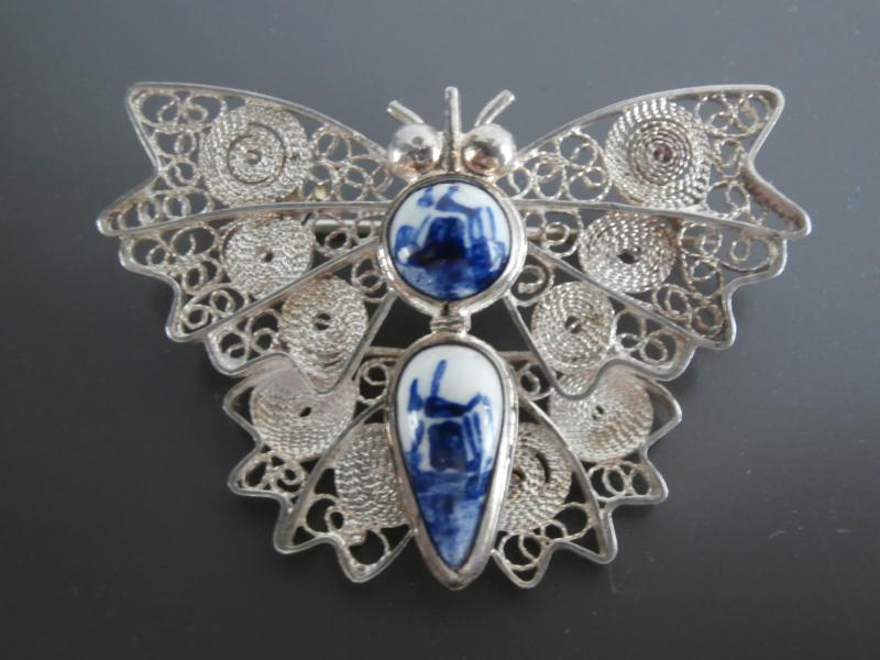 Bijzondere zilveren vlinderbroche