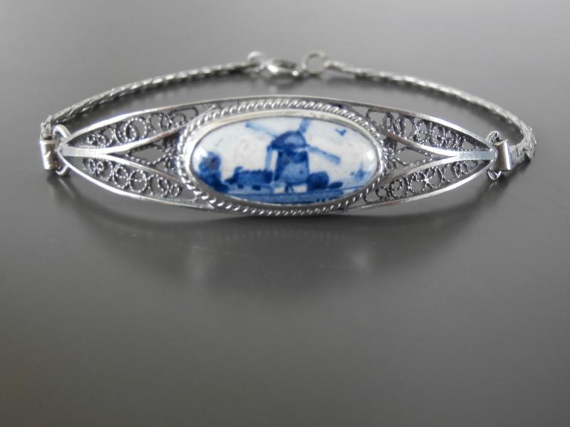 Armband met Delftse steen ovaal