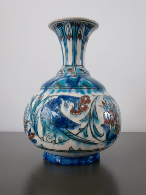 293; Bolvormige vaas, Iznik-stijl, Nieuw Delfts