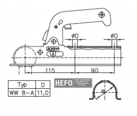 WW kogel-koppeling 800 kg. ongeremd VK 60 mm.