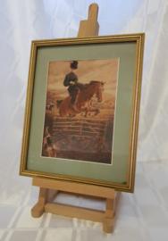 Amazone tijdens de jacht - antieke gekleurde lithografie