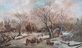Fraai wintertafereel - navolger van A. Schelfhout 1787-1870