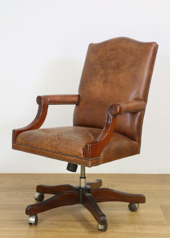 Draaibare Antieke Bureaustoel.Vintage Mahoniehouten Lederen Bureaustoel Antiek Curiosa