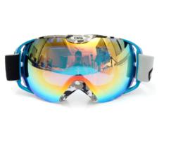 Skibril luxe lens blauw groen evo frame blauw X type 7