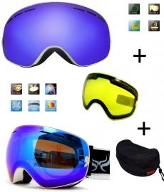 Skibril snowboard Goggles met EXTRA lens Smoke Bleu frame Wit F type 2 Cat. 0 tot 4 - ☀/☁