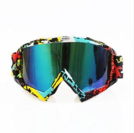 Skibril  luxe lens blauw  evo frame geel zwart en rood N type 8