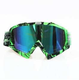 Skibril  luxe lens blauw  evo frame zwart / groen N type 11