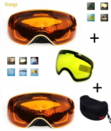 Skibril EXTRA lens Orange frame Wit F type 11 Cat. 0 tot 3 - ☀/☁