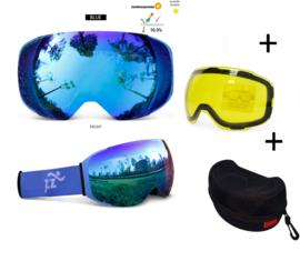 Skibril met EXTRA magnetische lens All bleu frame blauw AX type 5 Cat. 0 tot 4 - ☀/☁