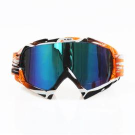 Skibril  luxe lens blauw  evo frame oranje / zwart N type 10