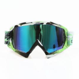 Skibril  luxe lens blauw  evo frame groen / zwart N type 5