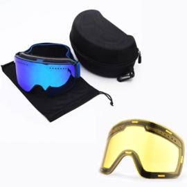 Skibril snowboard Goggles met magnetische lens spiegel Magic Bleu frame donker blauw Y type 3 Cat. 1 tot 4 - ☀/☁
