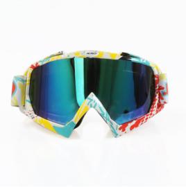 Skibril  luxe lens blauw  evo frame geel wit en rood N type 9