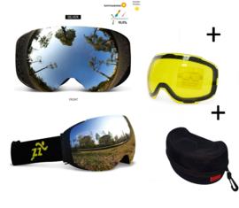 Skibril met EXTRA magnetische lens silver black frame Zwart AX  type 2 Cat. 0 tot 4 - ☀/☁