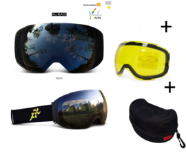 Skibril met EXTRA magnetische lens All black frame Zwart AX type 1 Cat. 0 tot 4 - ☀/☁