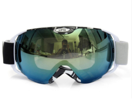 Skibril  luxe lens zwart groen evo frame zwart wit X type 4