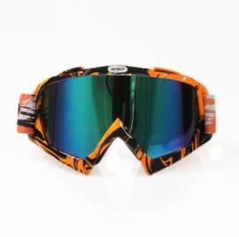 Skibril  luxe lens blauw  evo frame oranje / zwart  N type 4