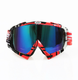 Skibril  luxe lens blauw  evo frame rood N type 2